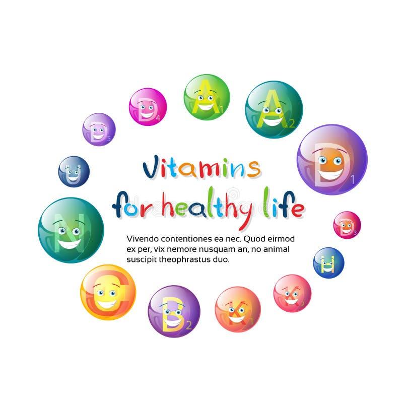 Witaminy odżywki kopalin Kolorowego sztandaru życia odżywiania chemii elementu Zdrowy pojęcie ilustracji