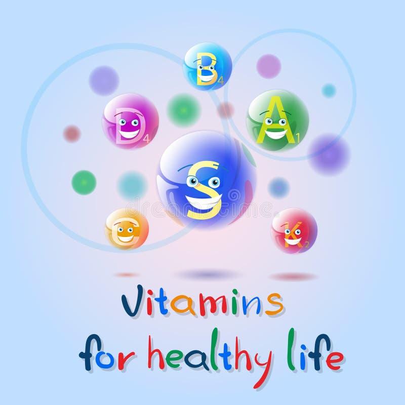 Witaminy odżywki kopalin Kolorowego sztandaru życia odżywiania chemii elementu Zdrowy pojęcie royalty ilustracja