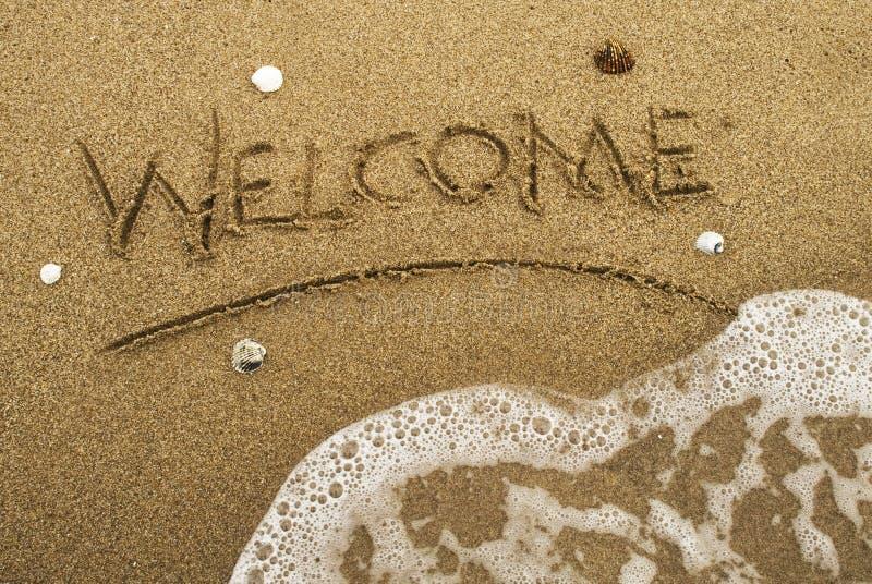 witamy na plaży zdjęcie royalty free