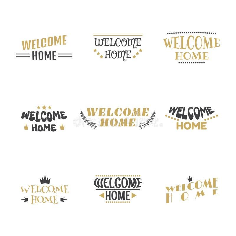 witamy w domu Set etykietki, majchery, emblematy lub odznak 9, odszyfrowywa ilustracja wektor