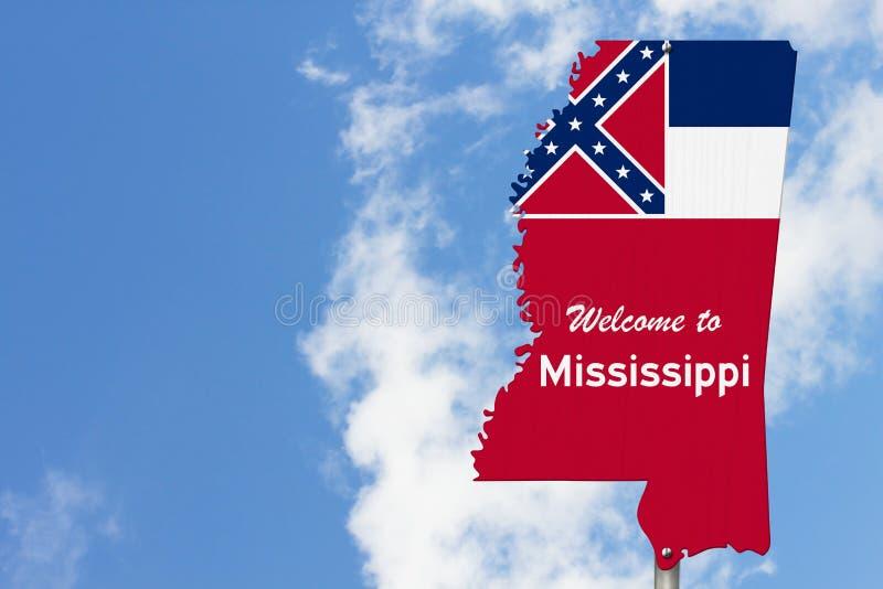 Witamy w stanie Mississippi znak drogowy w formie mapy stanu z flagą obrazy royalty free
