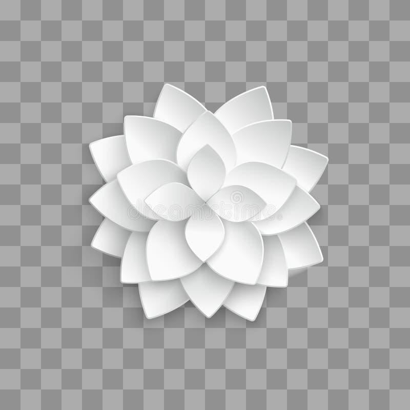 Witboek 3d lotusbloem op transparante achtergrond royalty-vrije illustratie