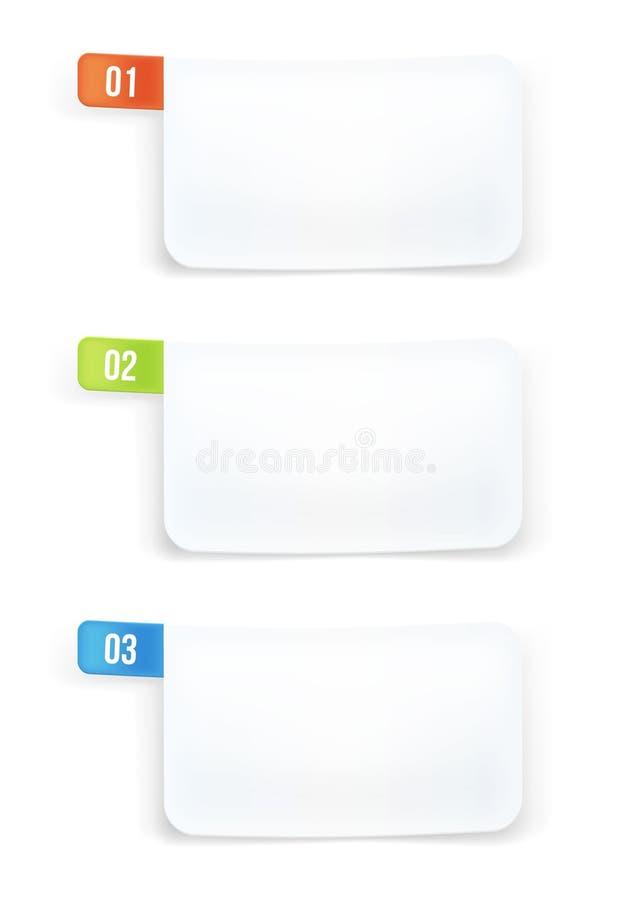 Witboek genummerd banners. vector illustratie