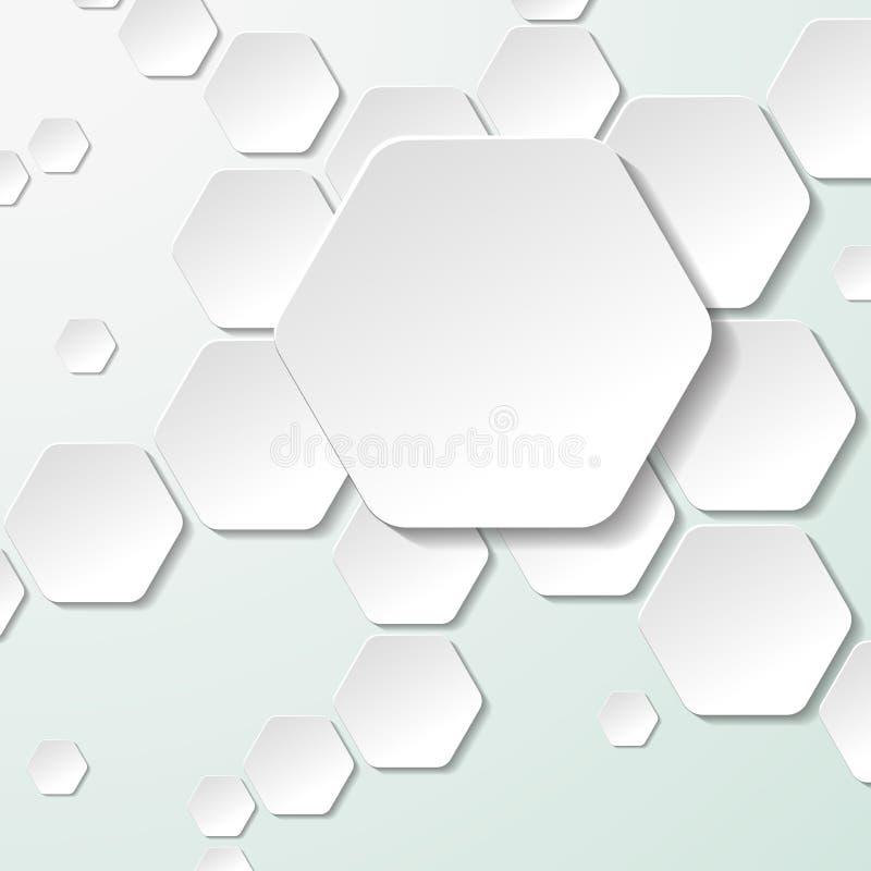 Witboek Hexagon Etiketten vector illustratie