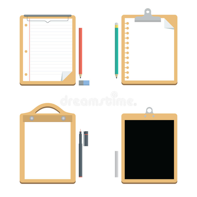 Witboek met Klembord en Bord, Vector, Kantoorbenodigdheden vector illustratie