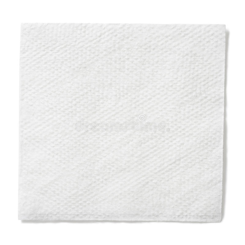 Witboek vierkant servet dat met het knippen van weg wordt geïsoleerd royalty-vrije stock afbeelding