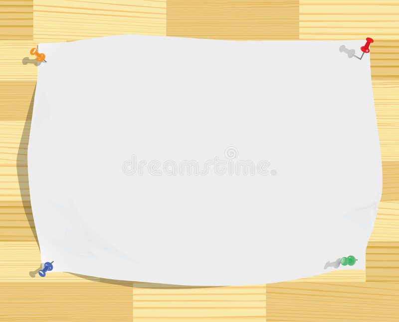 Witboekblad en bont spelden op houten textuur vector illustratie