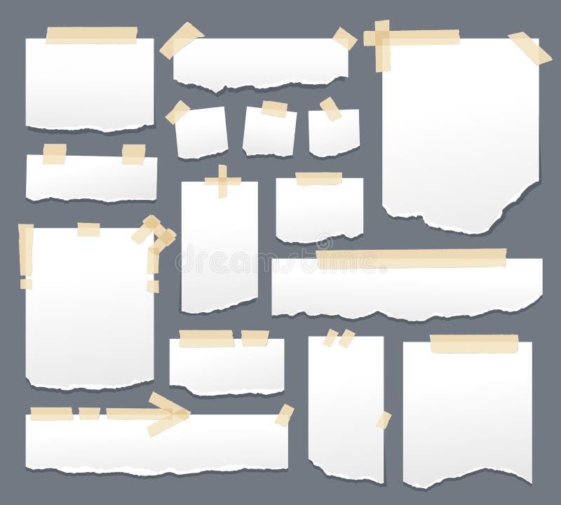 Witboekbladen met plakbandreeks Kleverige documenten met de zelfklevende vectorillustratie van sellotapestrepen Bladpagina stock illustratie