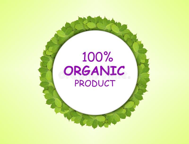 Witboekcirkel van groene bladeren met 100% biologisch product wordt gemaakt dat vector illustratie