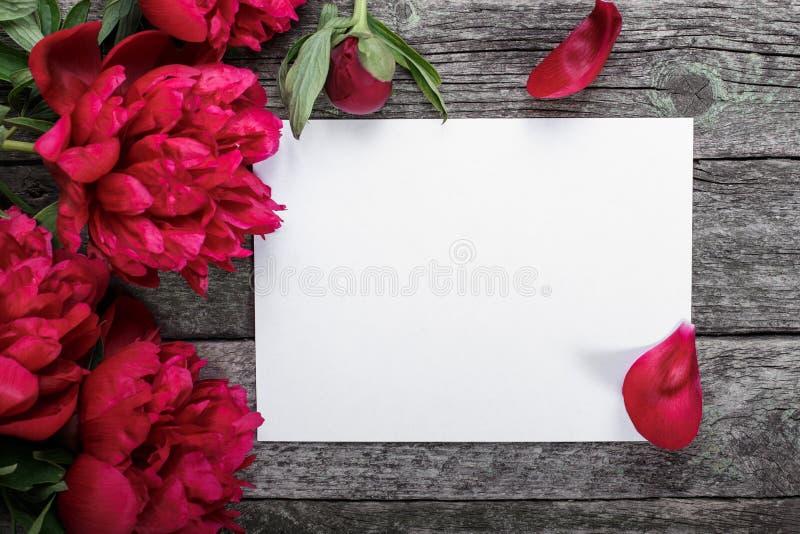 Witboekkaart op rustieke houten achtergrond met roze pioenen en bloemblaadjes Bloemen werkruimte stock afbeelding