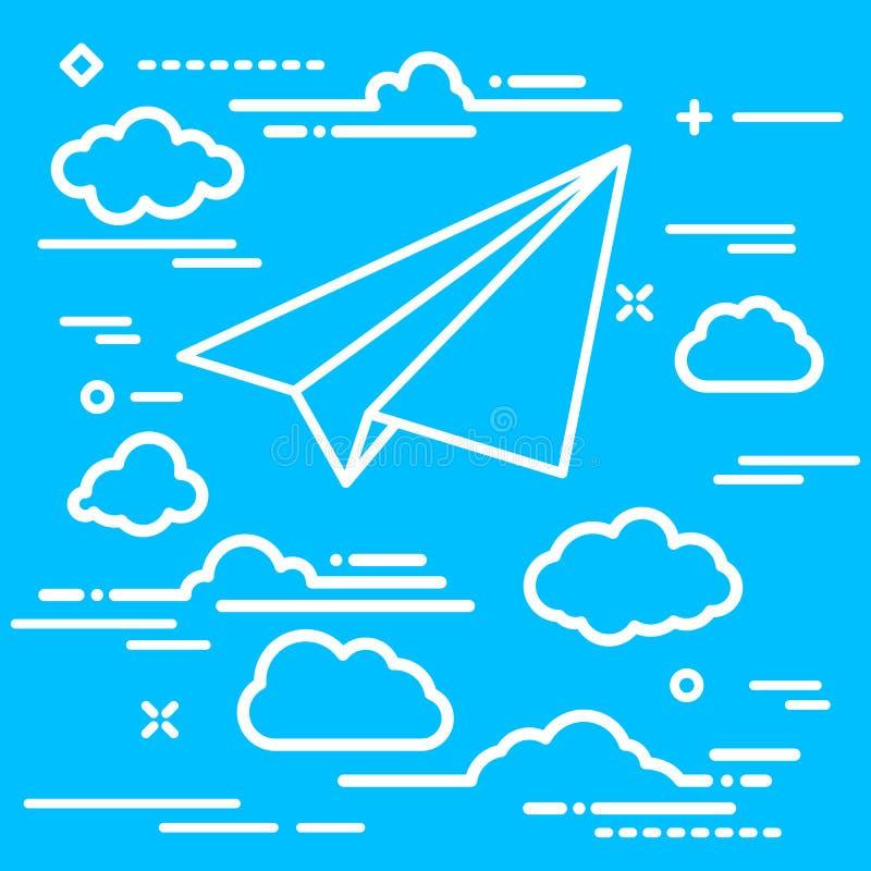 Witboekvliegtuig met wolken op een blauwe luchtachtergrond royalty-vrije illustratie