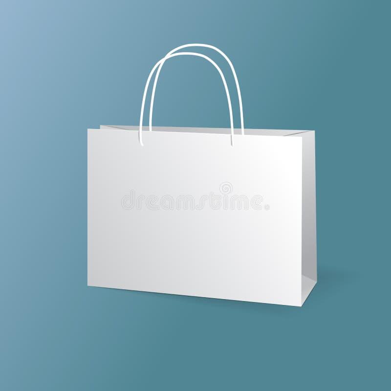 Witboekzakken geplaatst die op blauwe achtergrond worden geïsoleerd vector illustratie