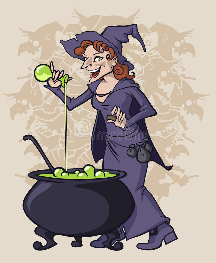 Witch. Illustration of a witch cooking some magic potion stock illustration