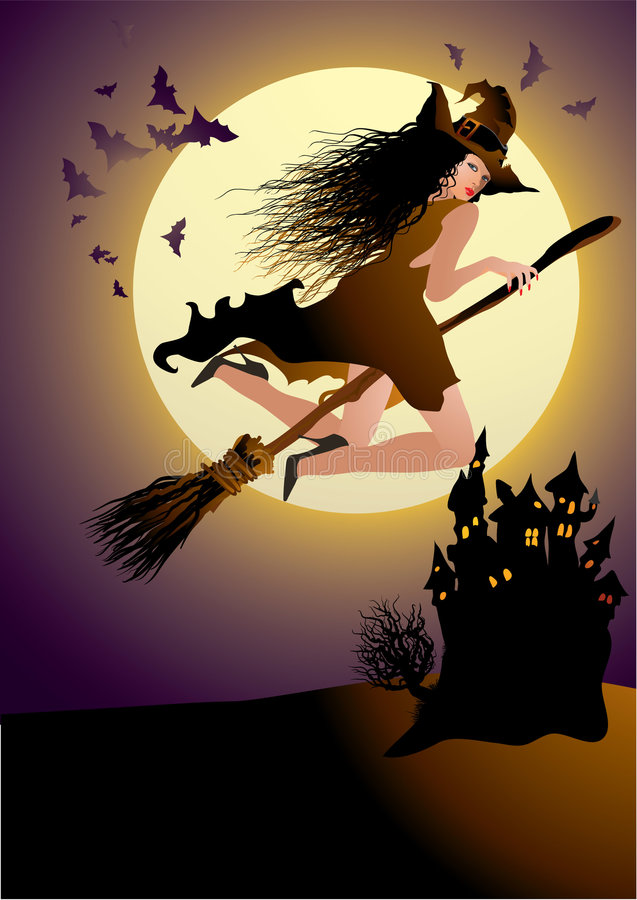 The witch. In halloween sky royalty free illustration