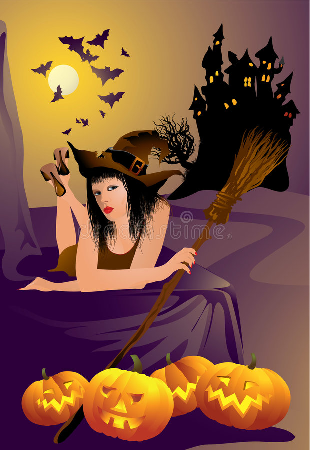 The witch. In halloween sky stock illustration