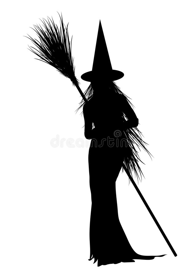 Witch 4. Silhouette of Halloween witch on white background stock illustration