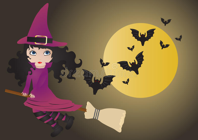 Witch with bats. Illustration of flying witch with bats royalty free illustration