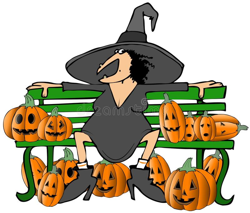 Witch on a bench royalty free illustration