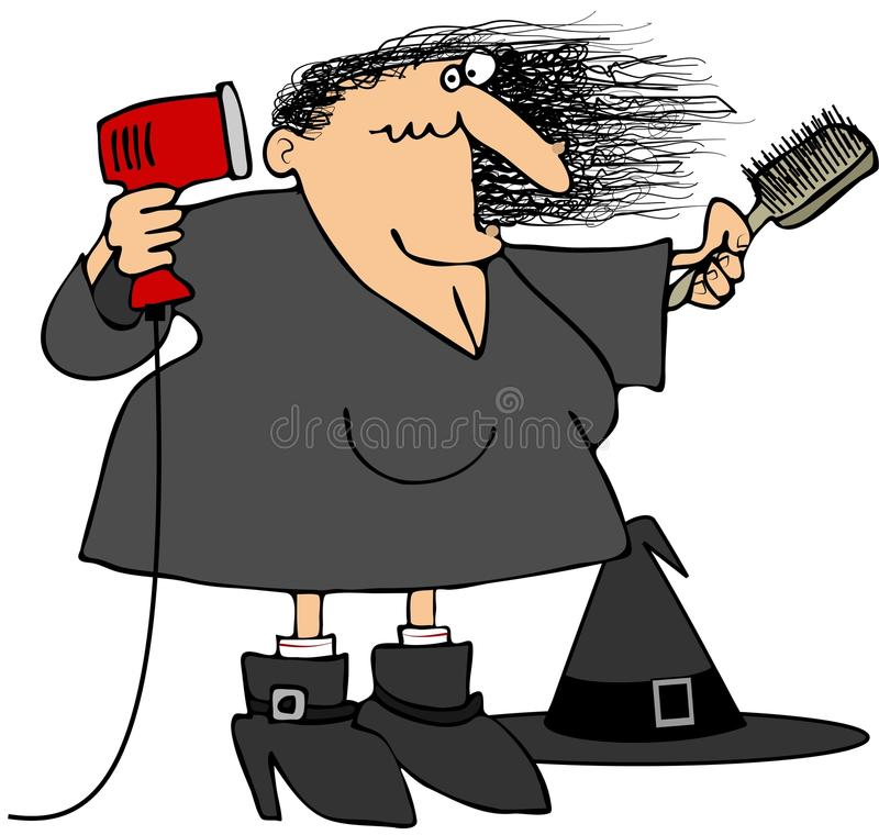 Download Witch blowdrying her hair stock illustration. Image of woman - 26286450