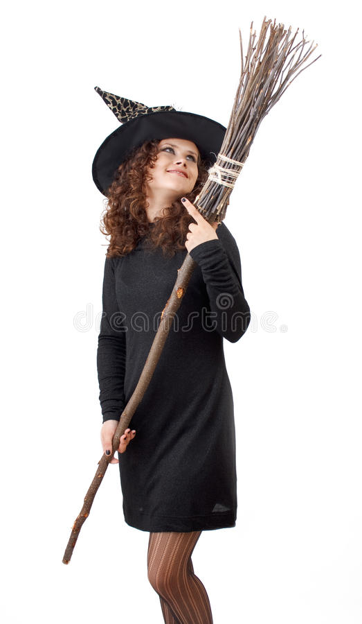 Download Witch and a broom. stock image. Image of isolated, image - 16021705