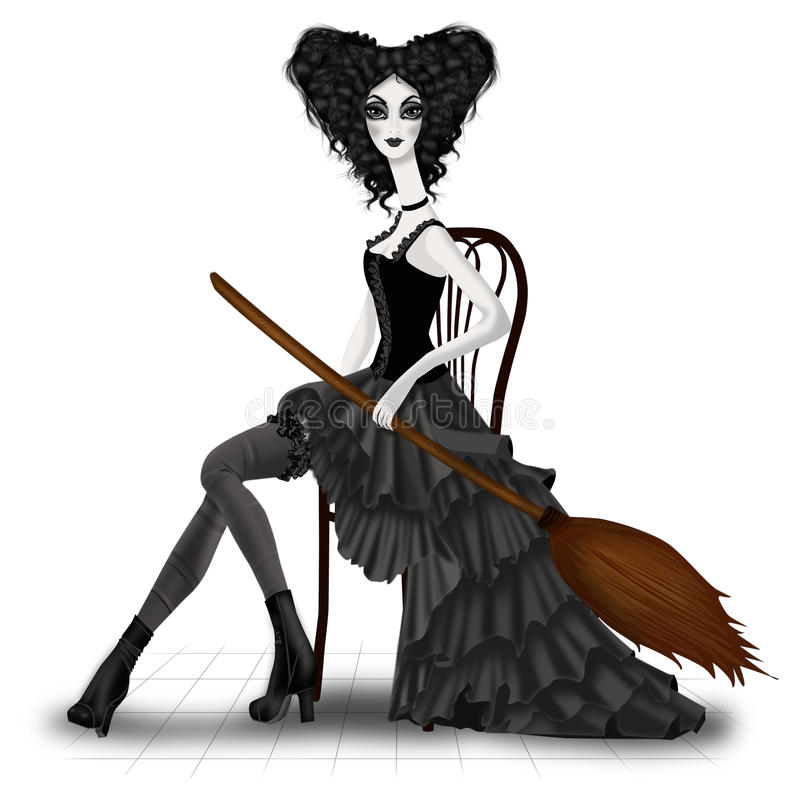 Witch with Broom royalty free stock image