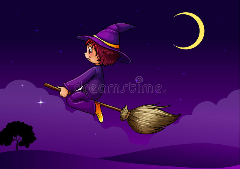 Witch On A Broom Stock Photo