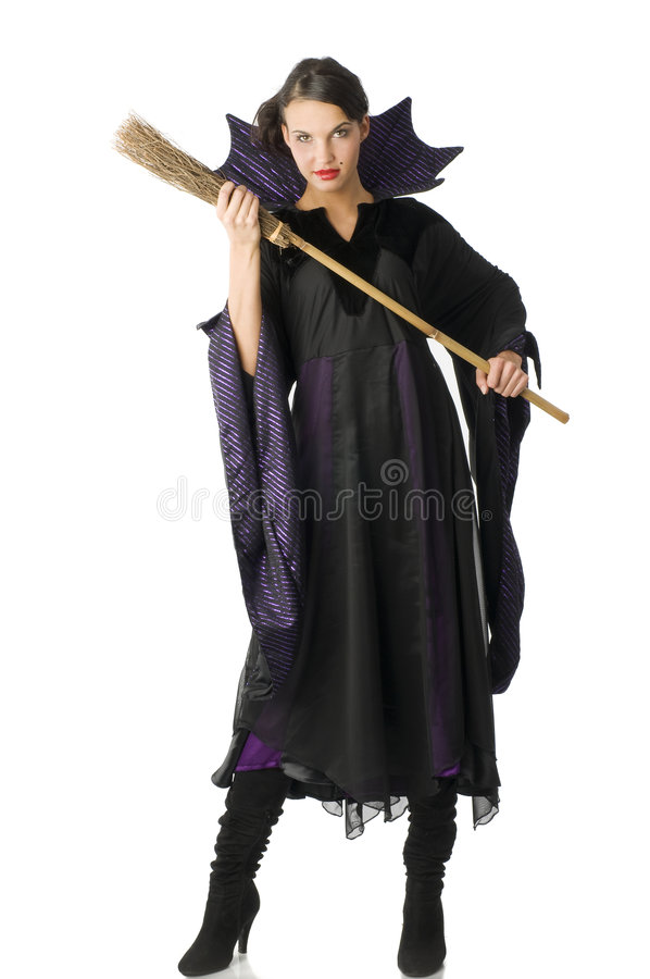The Witch With Broom Royalty Free Stock Photos