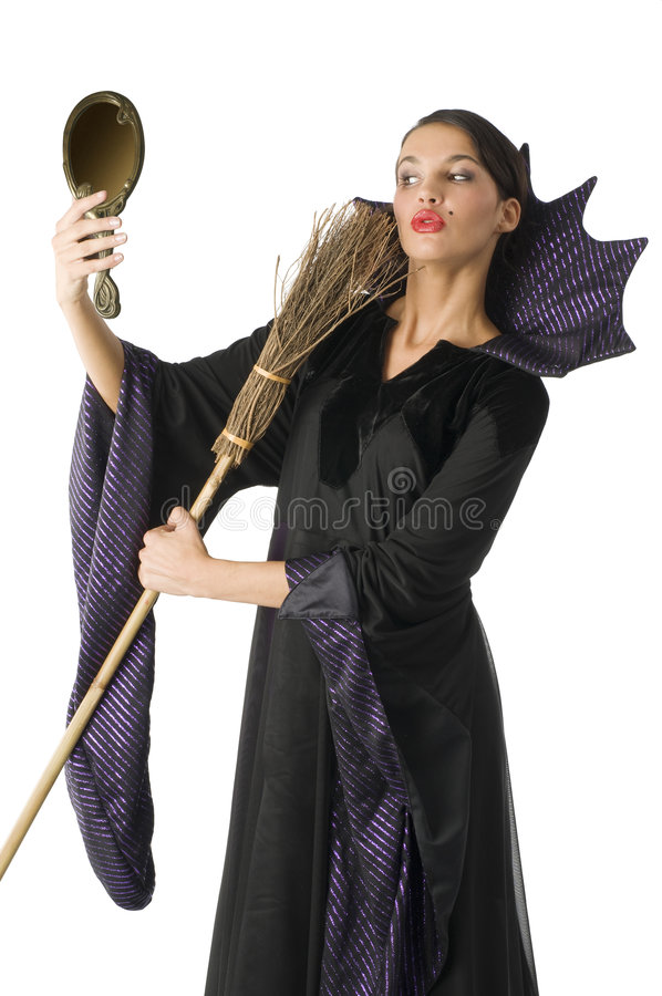 The witch with broom stock photos