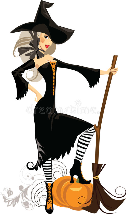 Witch With A Broom And Pumpkin Royalty Free Stock Image