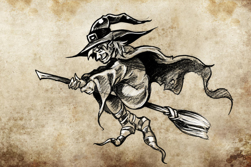witch on a broom tattoo sketch stock illustration