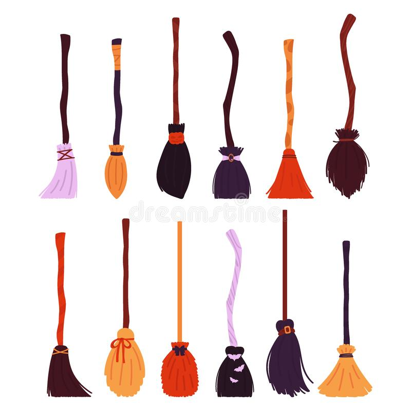 Witch brooms collection isolated on white background. A set of items for Halloween. Vector illustration. In the style of flat stock illustration
