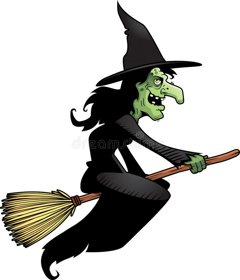Witch Broomstick. A cartoon witch flying on a broomstick