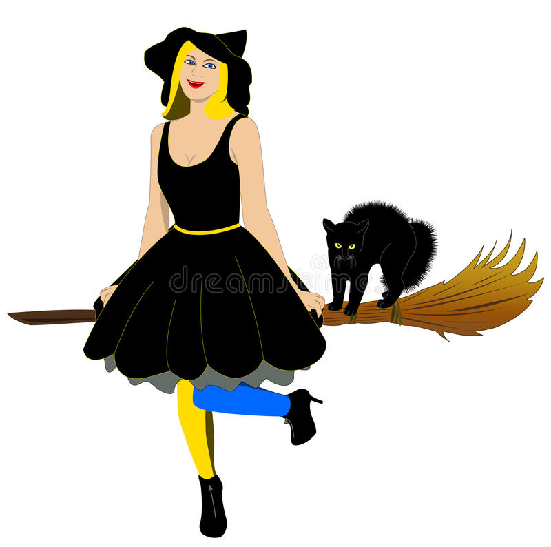 Download Witch with cat stock vector. Image of vampire, cartoon - 21537401