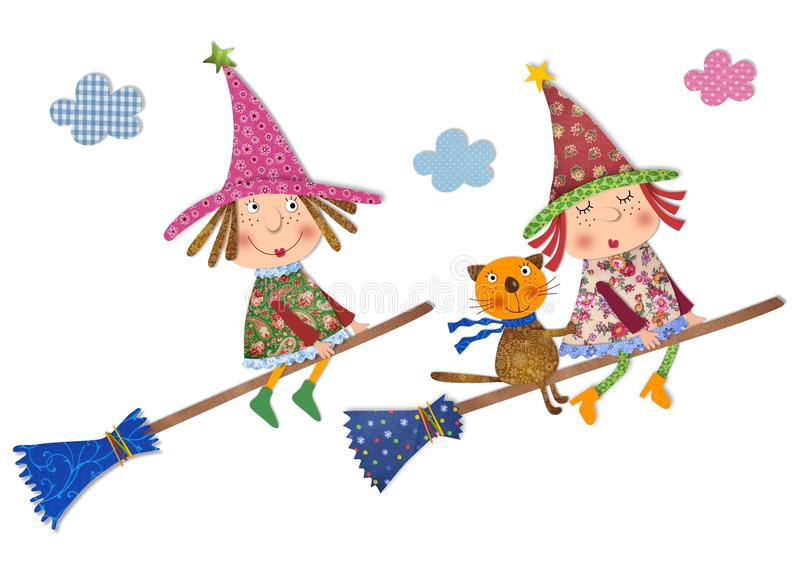 Witch and cat flying. Colorful fabric and paper quiltting royalty free illustration