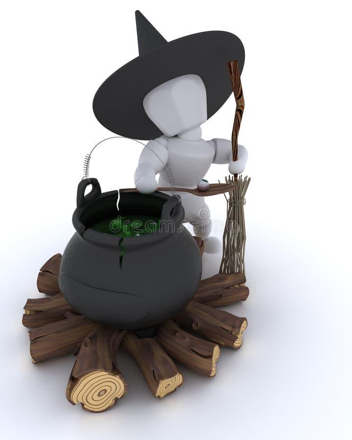 Download Witch With Cauldron Of Eyeballs On Log Fire Stock Illustration - Illustration: 27283869