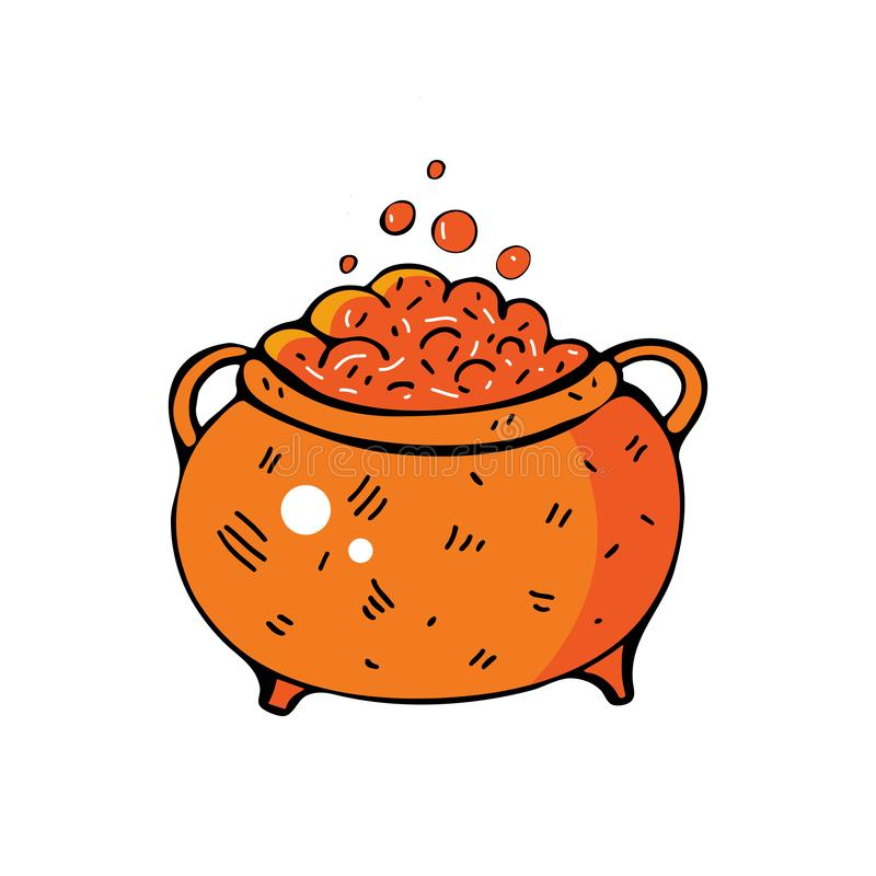 Witch cauldron in  on isolated white background. Magic potion. Happy Halloween. Simple, modern style. Orange vector illustration
