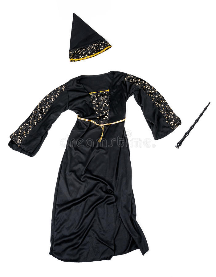 Witch costume with wand isolated stock image