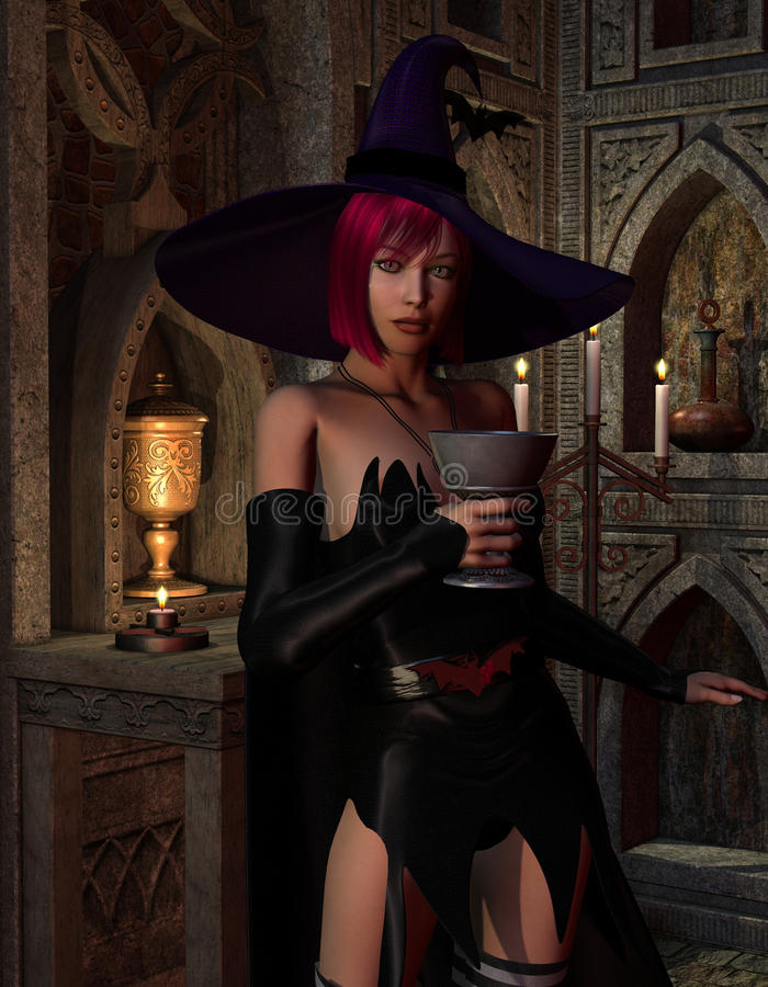 Witch With A Cup Stock Photos