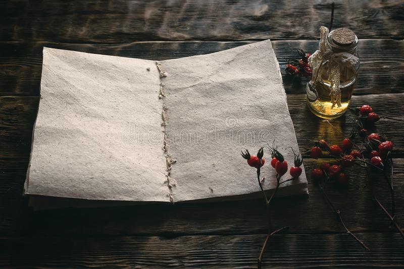 Witch doctor. Briar berry essential oil and blank page open book with recipe on a wooden table. Herbal medicine top view background with copy space stock image