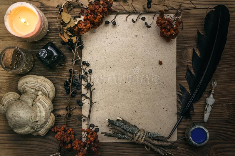 Witch doctor. Shaman. Witchcraft. Magic table. Alternative medicine. stock image