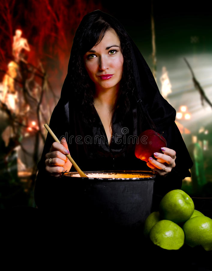 Witch from a fairy tale. Of Snow White stock photography