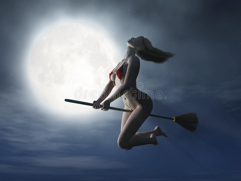 Witch flaying on broom at halloween night stock illustration