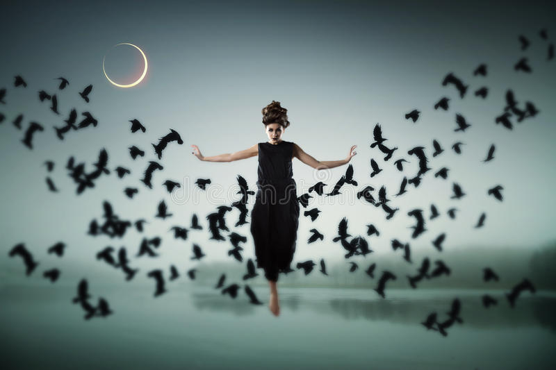 Witch floating in the air. stock image
