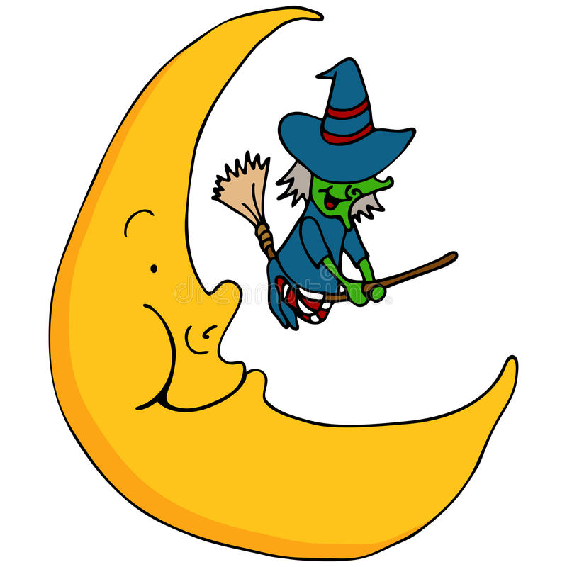 Witch Flying Across The Moon Royalty Free Stock Photos