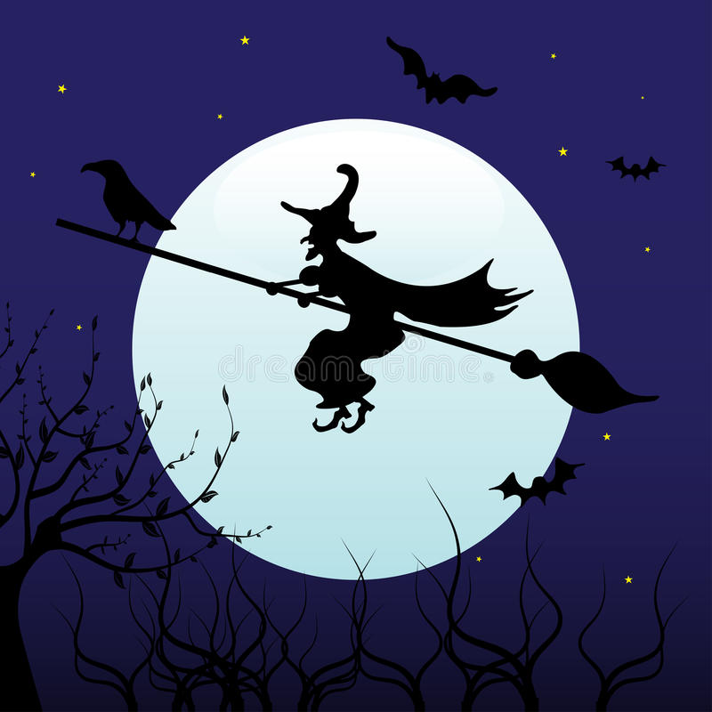 Download Witch flying on a broom stock vector. Image of full, concept - 16544463