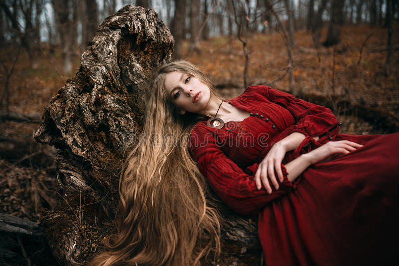 Witch in forest royalty free stock photography