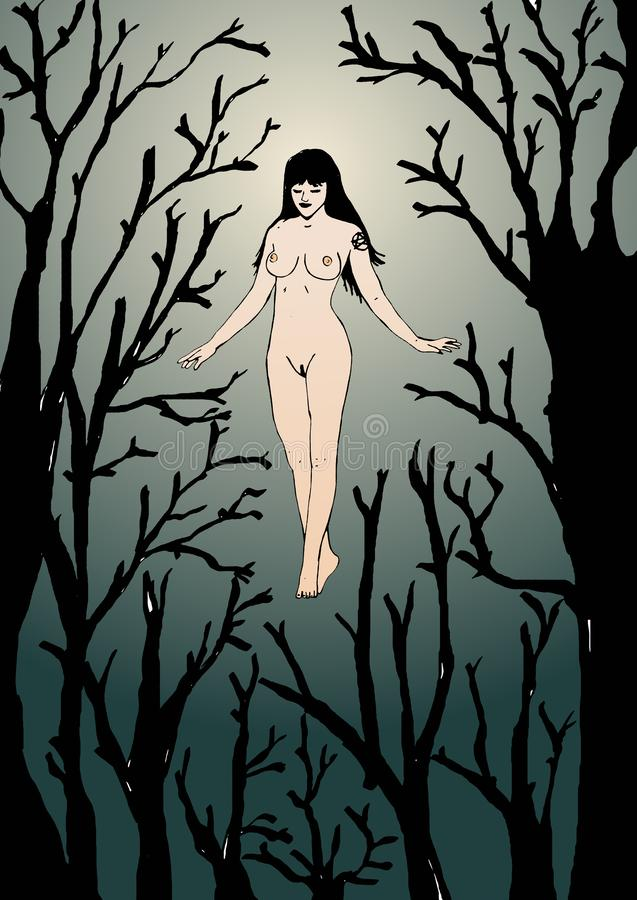 Witch in the forest. Image of a flying witch