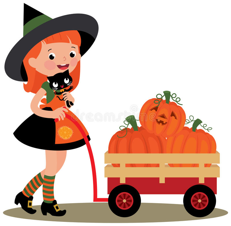 Witch Halloween carries a wheelbarrow full of pumpkins royalty free illustration