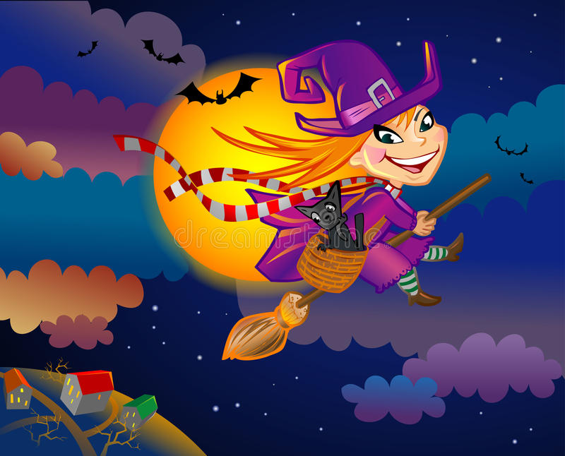 Download Witch on Halloween eve stock vector. Illustration of night - 16800603