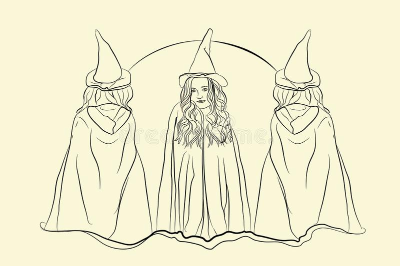 Witch halloween sketching style. On white isolated background royalty free illustration